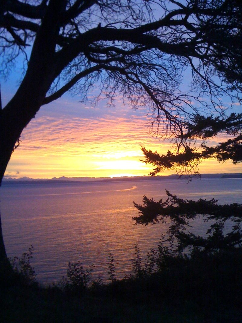 the morning sunrise in port townsend