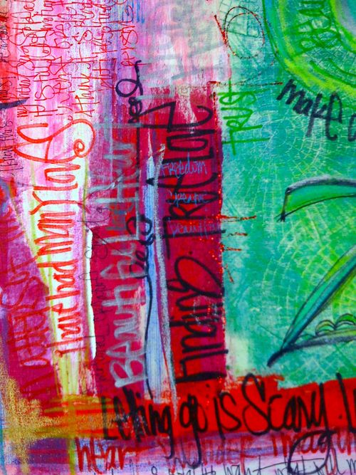 detail of graffiti canvas by traci bautista