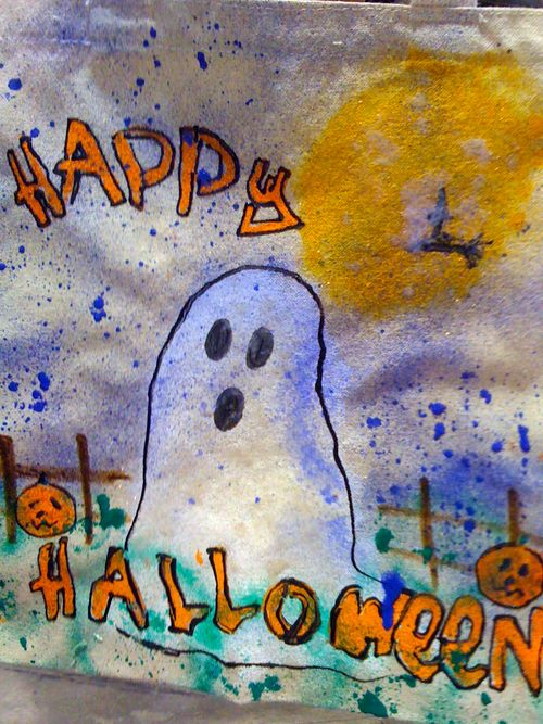 halloween tote painted by attendee of ILTC showcase