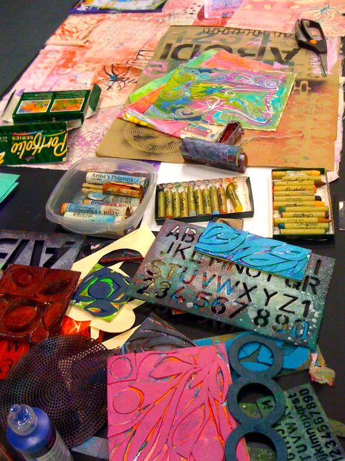 painting tools, stencils & handmade stamps