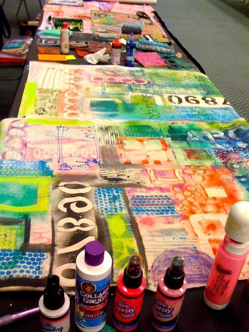 my teaching table graffiti canvas in progress