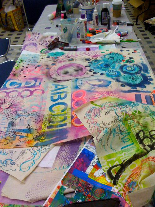 my teaching table graffiti canvas workshop