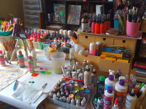 creating at my studio table