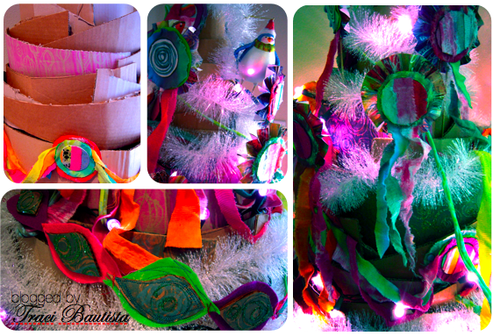 christmas crafts: recycled cardboard Christmas tree by traci bautista