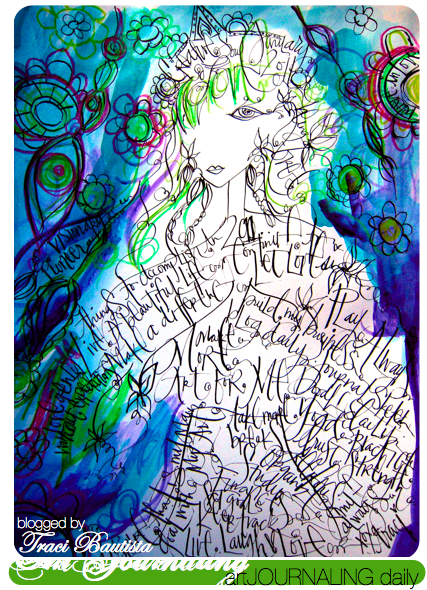 girlie glam art journal page by traci bautista