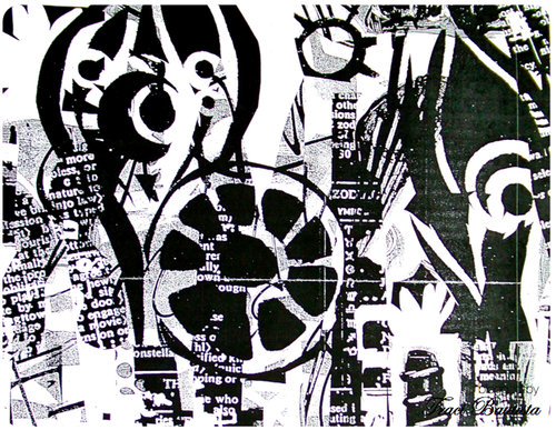 photocopy of b/w collage layered with transparency