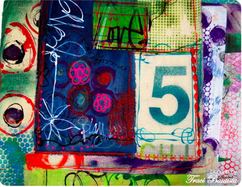 fabric collage & free motion art journal cover by traci bautista