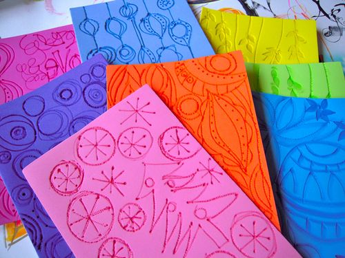 HANDMADE doodle printing plates and foam stamps by Traci Bautista