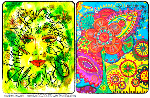 creative doodles online workshop student artwork