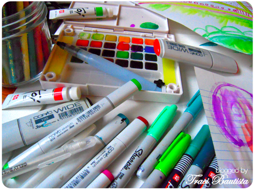 my FAVE markers..copic, sharpie, sakura & koi water colors