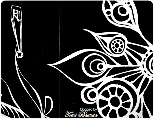black & white doodle photocopy printed in reverse by traci bautista