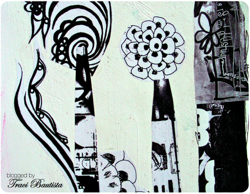 black & white photocopies of my art collaged over gesso paper