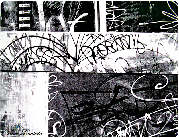 Layered art journal pages photocopied in b w