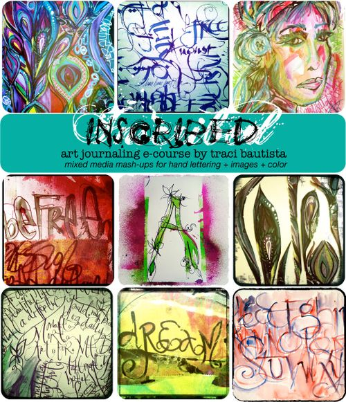 a sample of art from INSCRIBED art journaling e-course