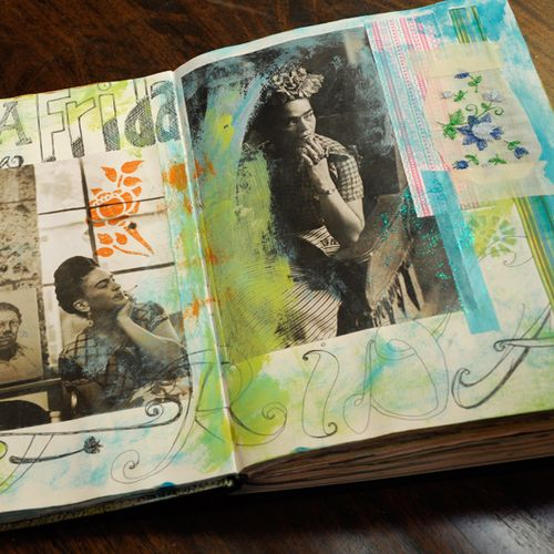 favorite art journal page:  One I did a while ago in honor of Frida Kahlo