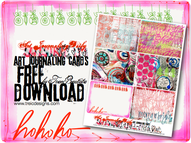 artJOURNALING daily HOLIDAY love merry + bright art journaling cards FREEBIE by traci bautista