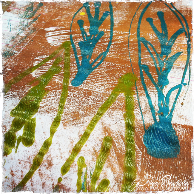 Puffy Paint Prints feathers style reMIX byTraci Bautista