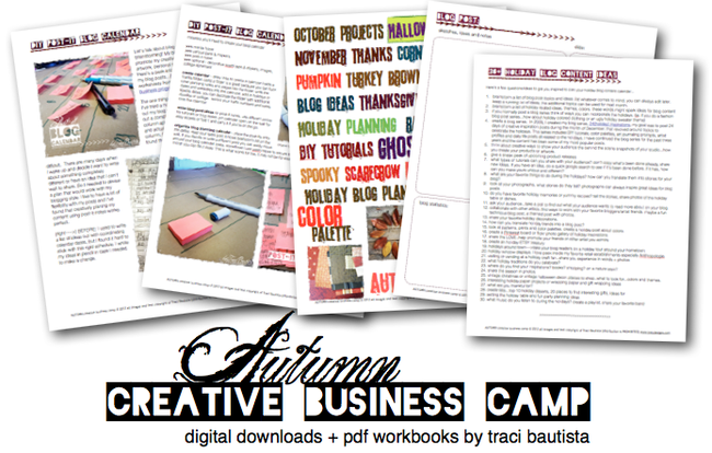 AUTUMN creative business CAMP pdf workbooks by traci bautista