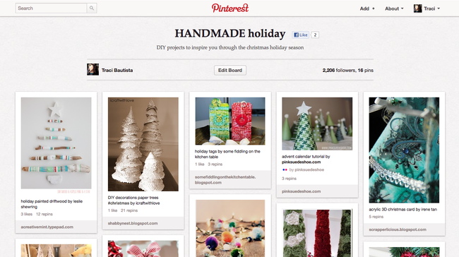handmade holiday pinterest board by traci bautista