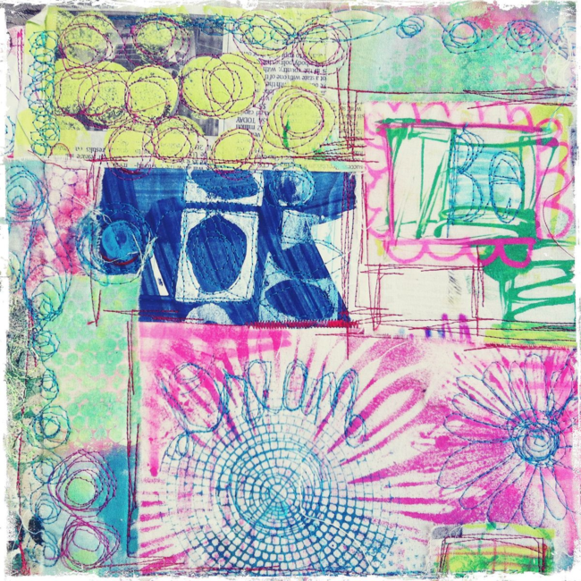 free motion stitched art journal cover by traci bautista